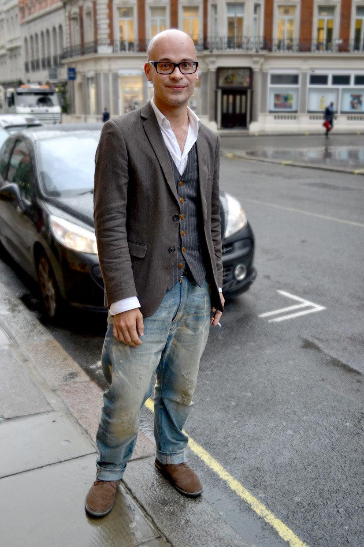 Tim on Conduit Street, waistcoat, London, Jean, Jeans, Jacket, Eveneing attire, streetfashion, fashion, streetwear, thisishype, www.thisishype.com, This Is Hype, Street Hype, Vest, UK, Great Britain, England, heritage, Denims, Vivienne Westwood,