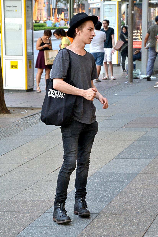 Boy in Black on Kurfürstendamm, Berlin 2015, This Is Hype - We hate Fashion, but we love the People who wear it!