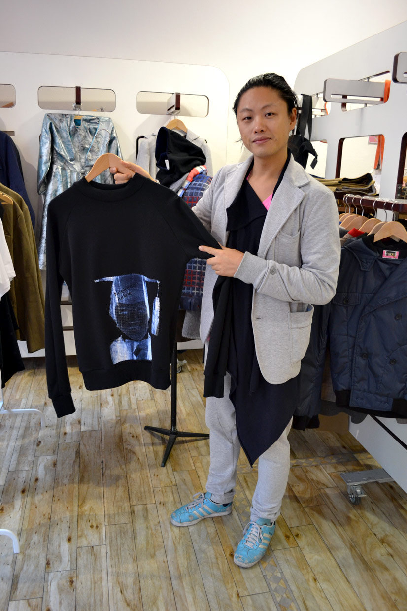 Chang portrayal on sweater by Chang13°, Maastrichter Straße, Cologne, Köln 2013, Fashion Now, Hype Profile // Cologne Chang13°,  asianartist, wonderwoman, couture, designer, fashion designer, artist, tailor, fashion store, clothing, design