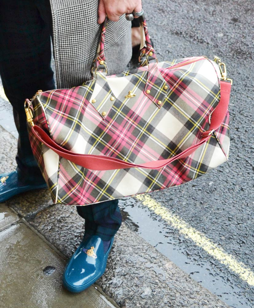 Vivienne Westwood red tartan weekender bag, London 2013, Street Hype // London Daryl