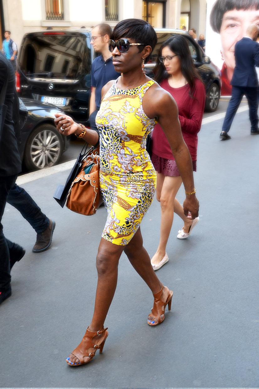 Lady in yellow dress on Via Monte Napoleone, Milan 2015, This Is Hype - We hate Fashion, but we love the People who wear it!