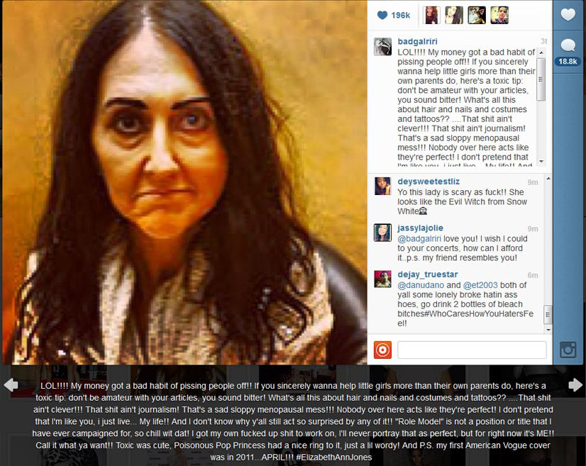 Rihanna's Instagram rant as reaction to Liz Jones' article, Hype Profile // Liz Jones vs. Rihanna
