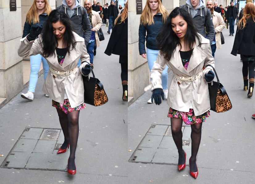 Lady stumbling on Rue Saint Honoré 2, Paris 2014, This Is Hype - We hate fashion, but we love the People who wear it!
